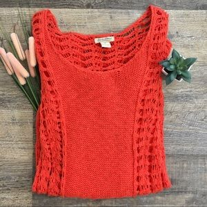 Lucky Brand Open Knit Coral Long Sweater